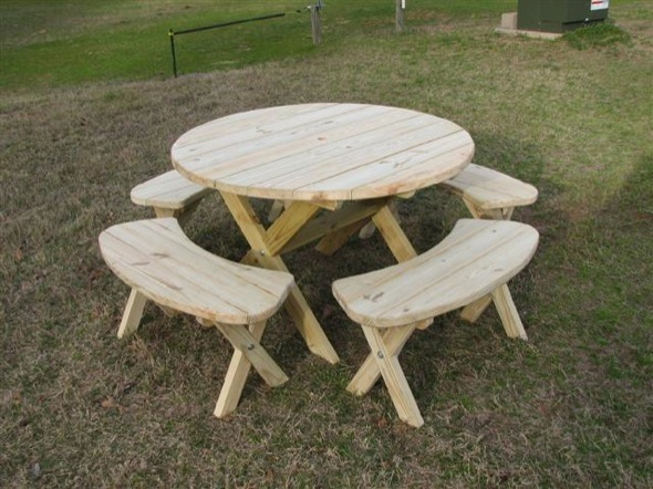 ... picnic table and benches, Round 8 seater Picnic Table How to Build A