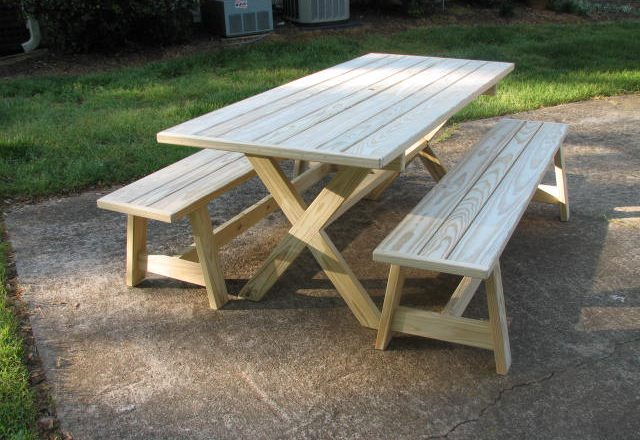 7037 Crossleg Picnic Table with Farm benches
